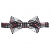 Галстук бабочка Scottish Tartan Check White & Red